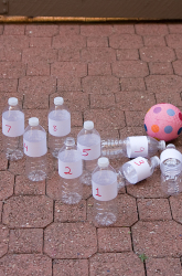 Bowling with water bottles